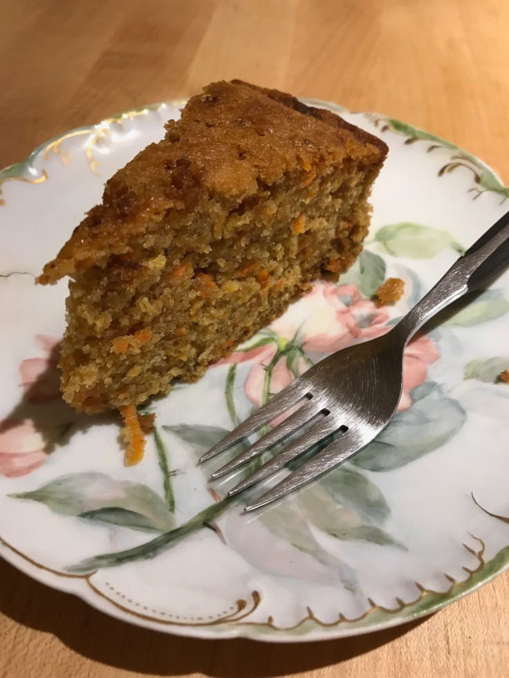 carrot cake on a fancy plate